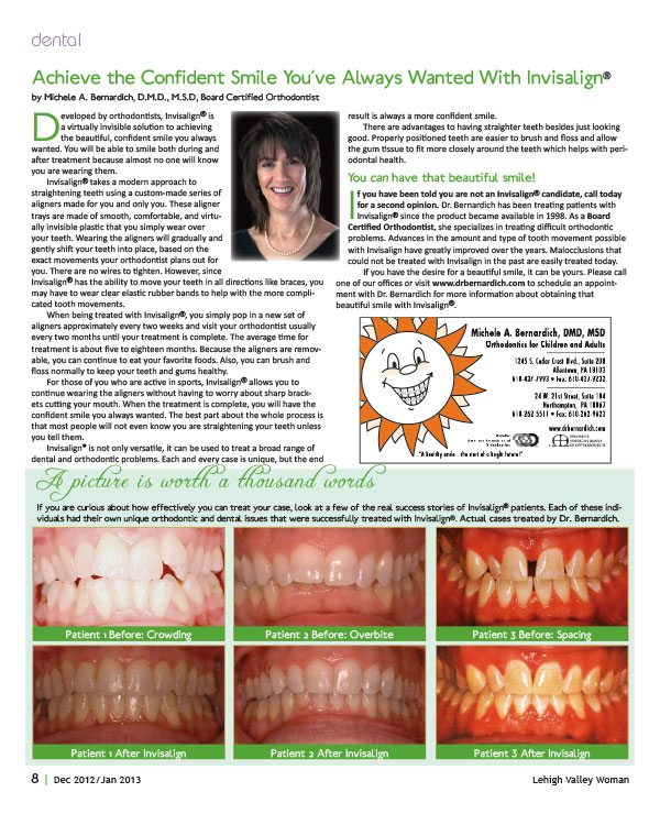 Achieve a confident smile with Invisalign treatment by Allentown and Northampton orthodontist Dr. Michele Bernardich.